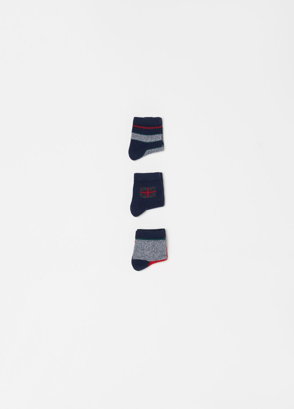 Three-pair pack short socks with stripes and embroidery