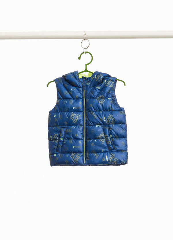 Padded gilet with star and lettering pattern
