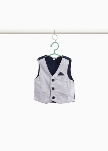 Two-tone gilet in stretch linen and cotton