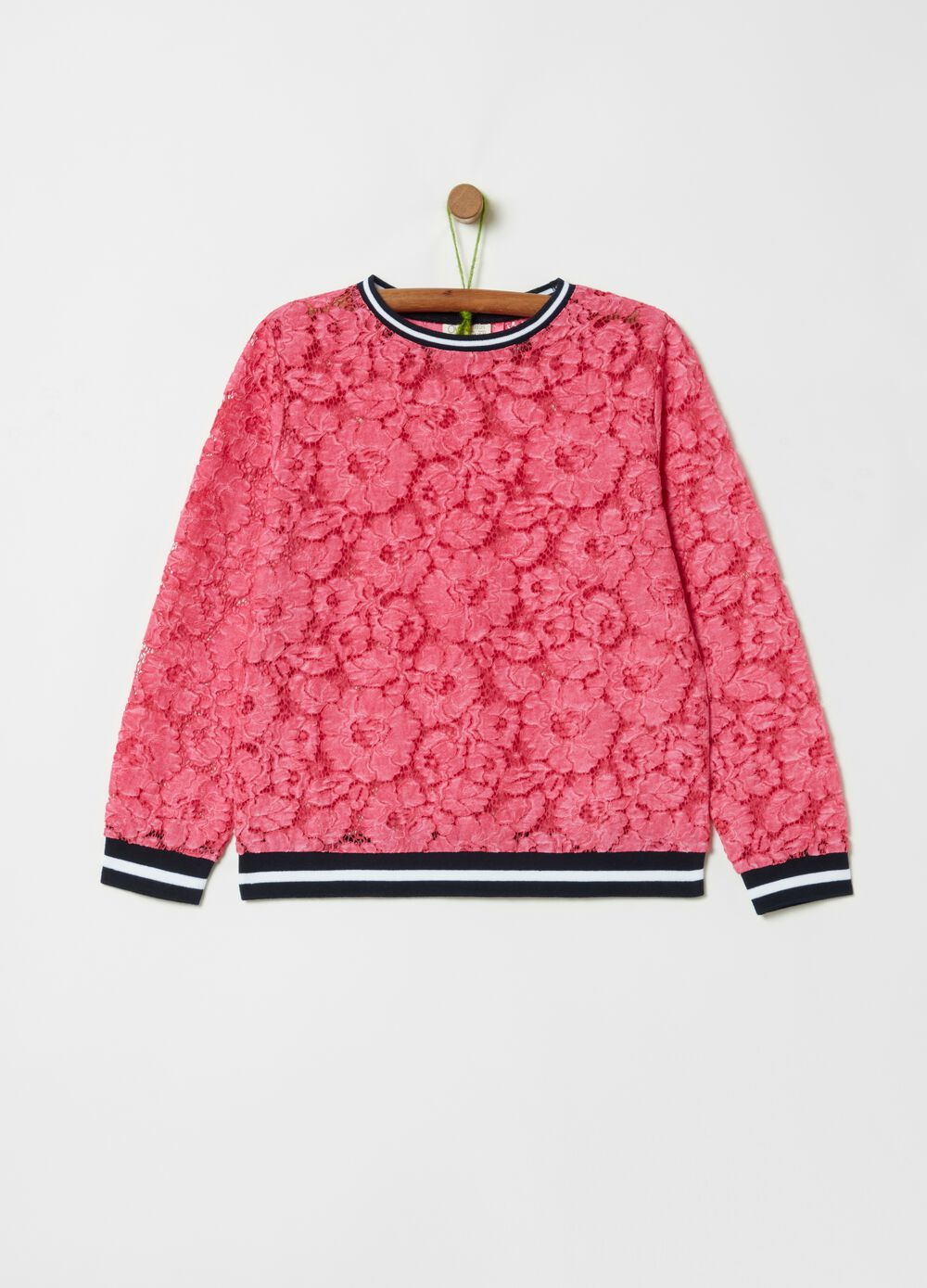 Lace-effect blouse with floral motifs