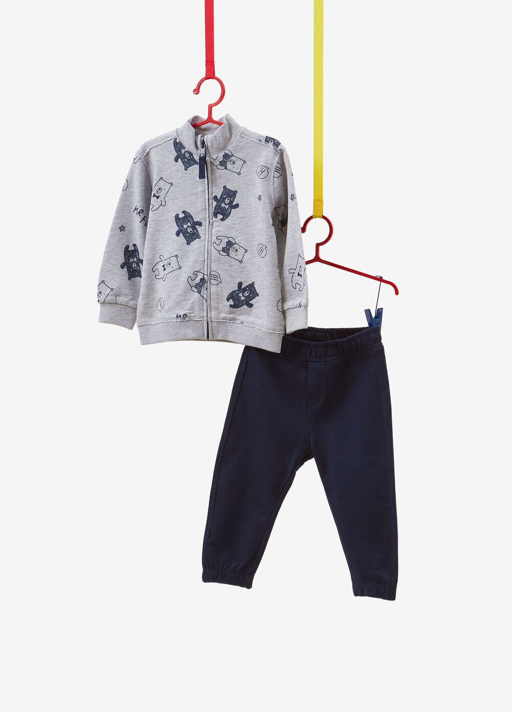Cotton and viscose tracksuit with teddy bear pattern