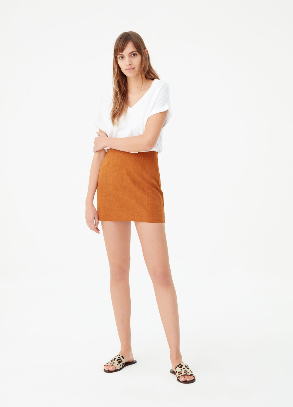 Solid colour short shirt in linen and cotton