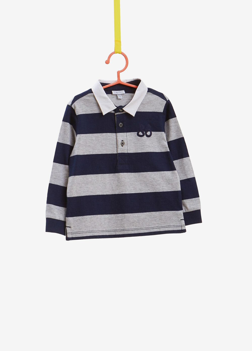 Polo shirt with striped pattern and long sleeves