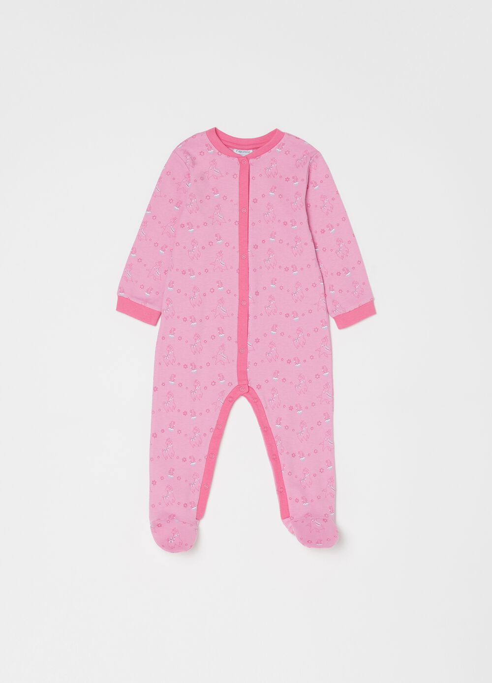 100% organic cotton onesie with feet and sheep