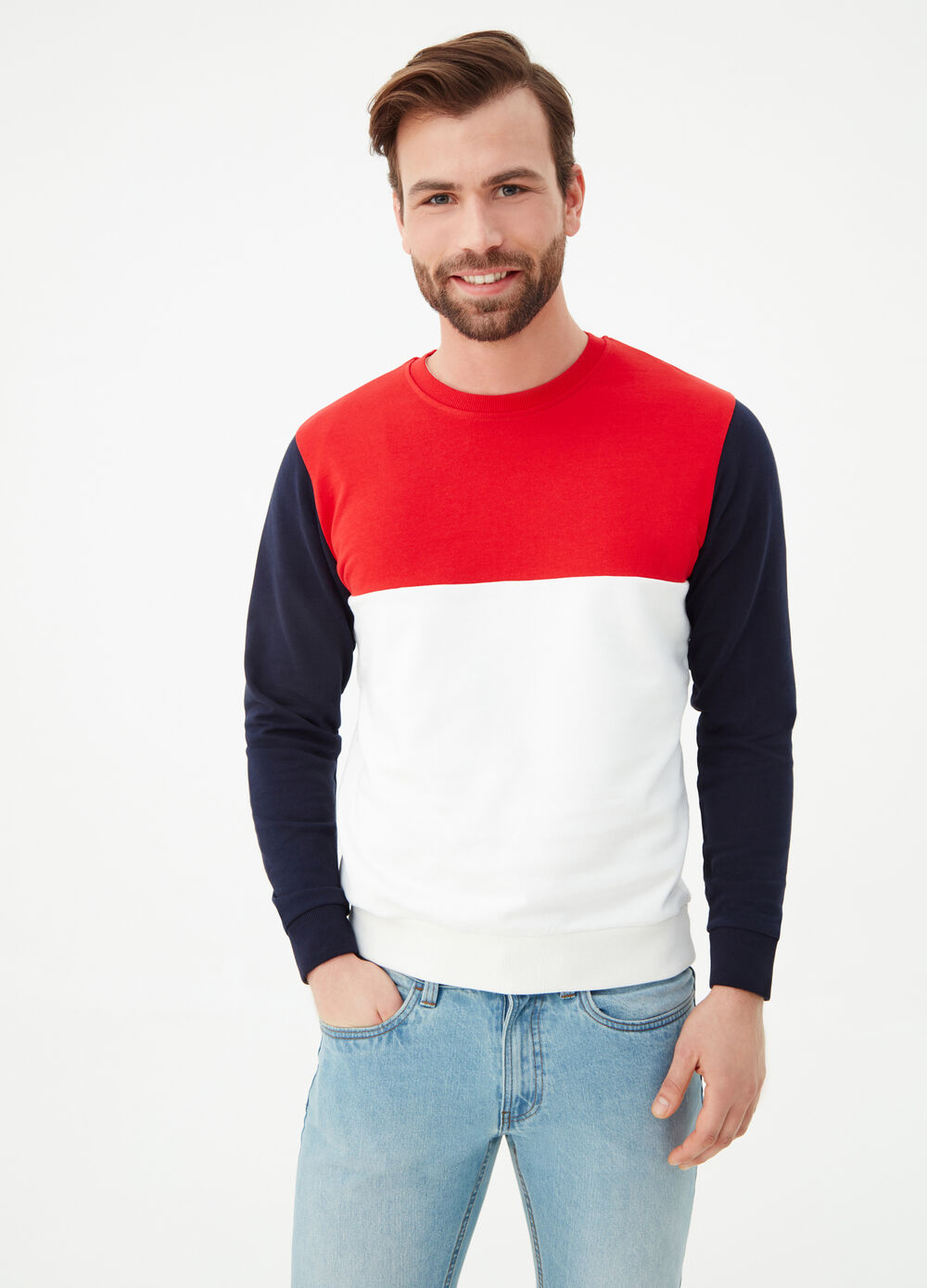 Colour block sweatshirt in organic cotton