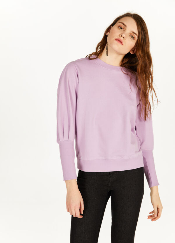 100% cotton sweatshirt with pleating