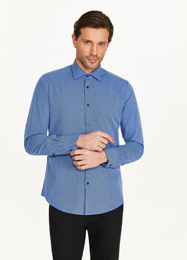 Slim-fit formal micro-striped shirt