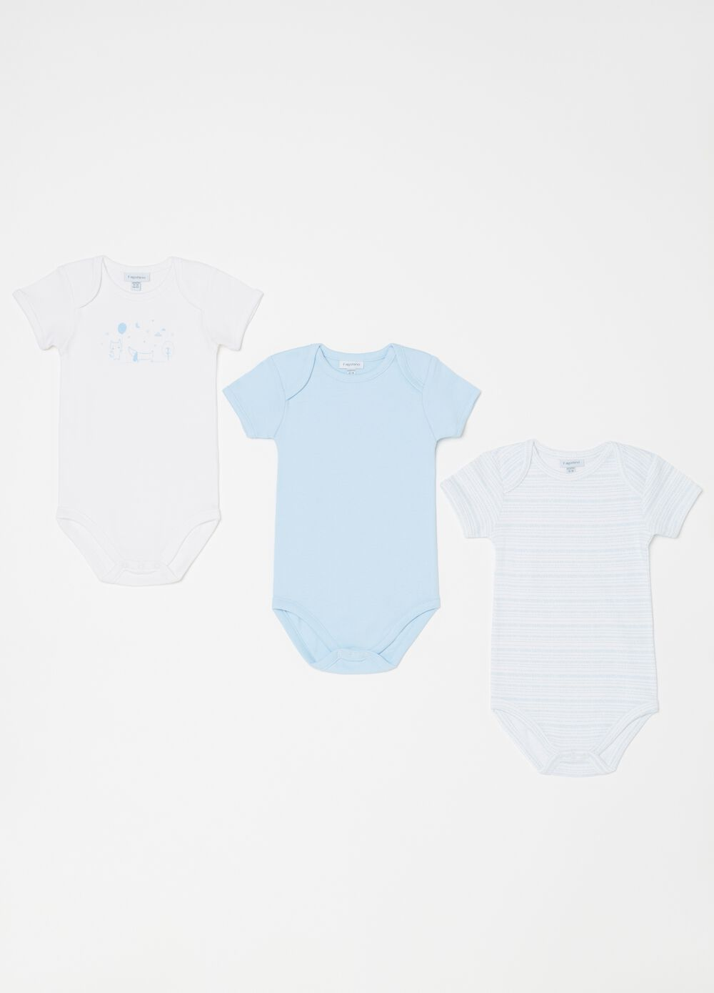 Two-pack printed and patterned biocotton bodysuits