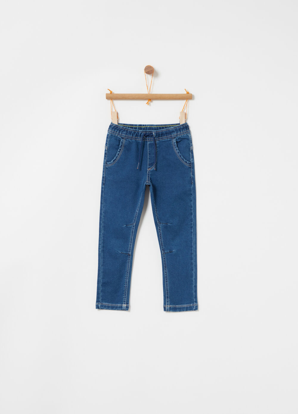 Pantalone jogger denim tessuto stretch
