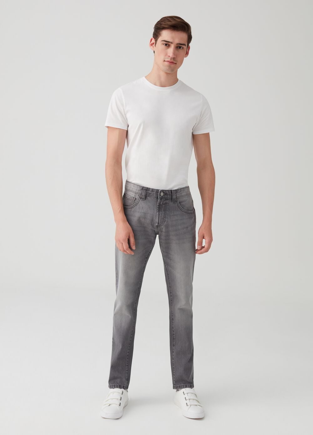 Vintage-wash straight-fit jeans