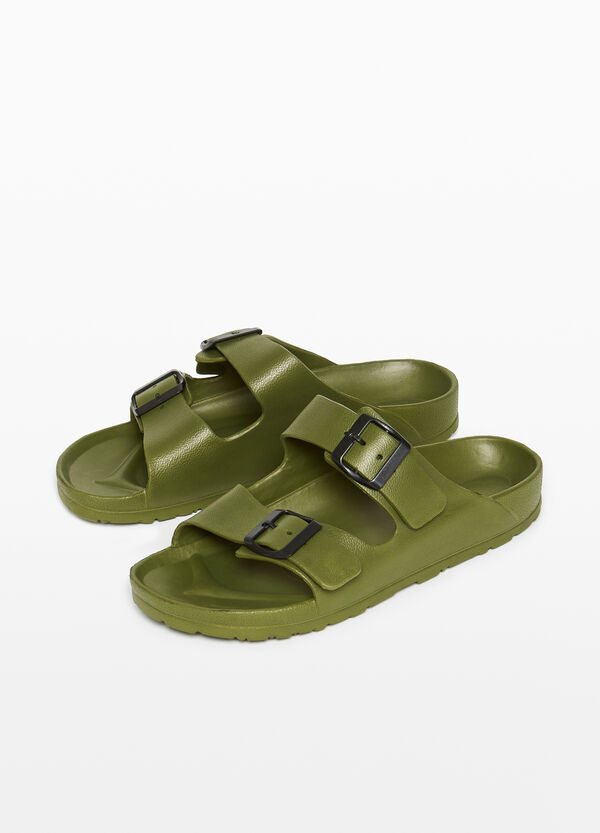 Sandals with double buckle