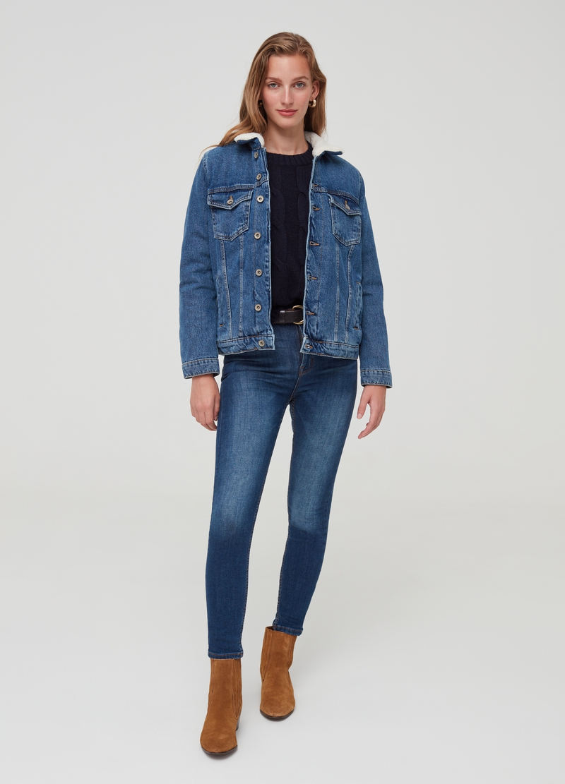 Padded denim jacket with pockets image number null