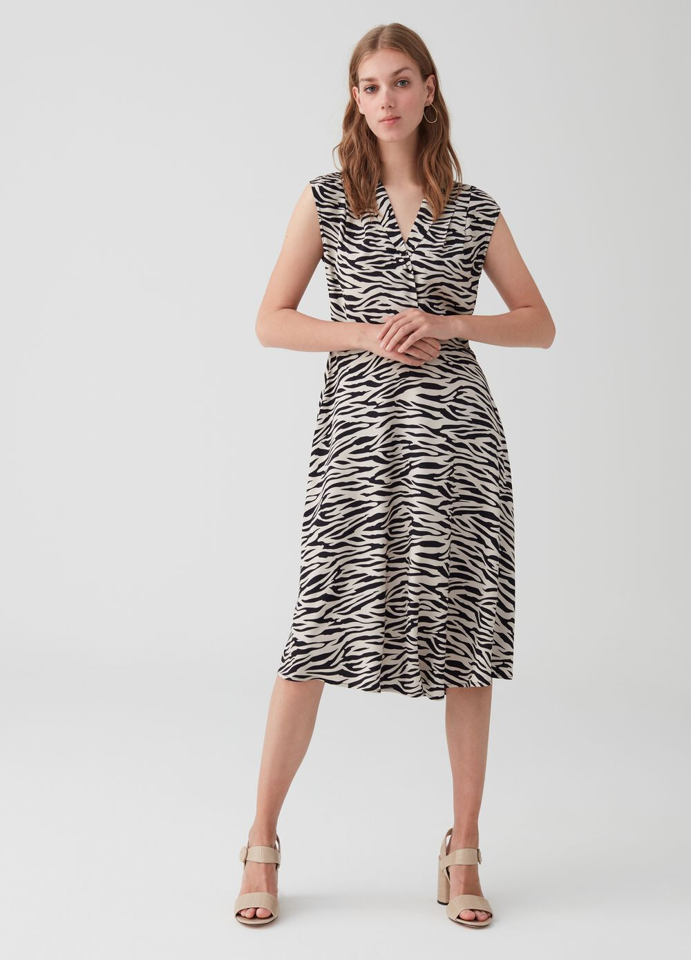 Animal print viscose dress with cap sleeves