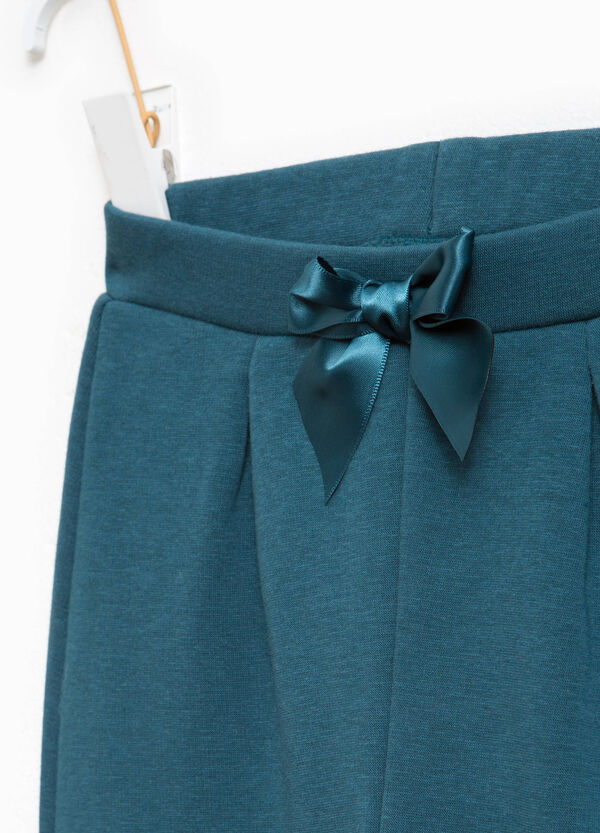 Cotton blend trousers with bow | OVS
