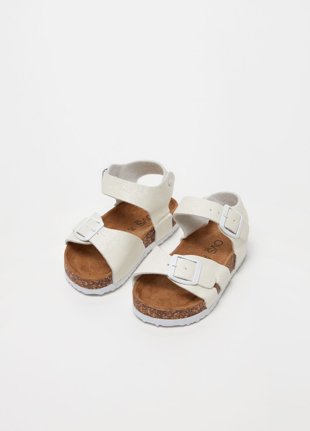 Sandals with glitter straps and buckle