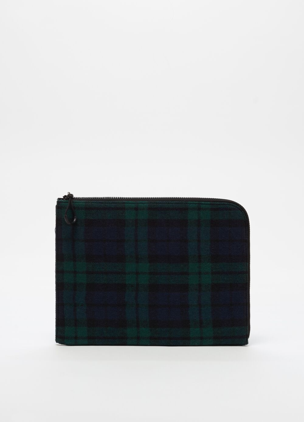 Wallet with zip and check pattern
