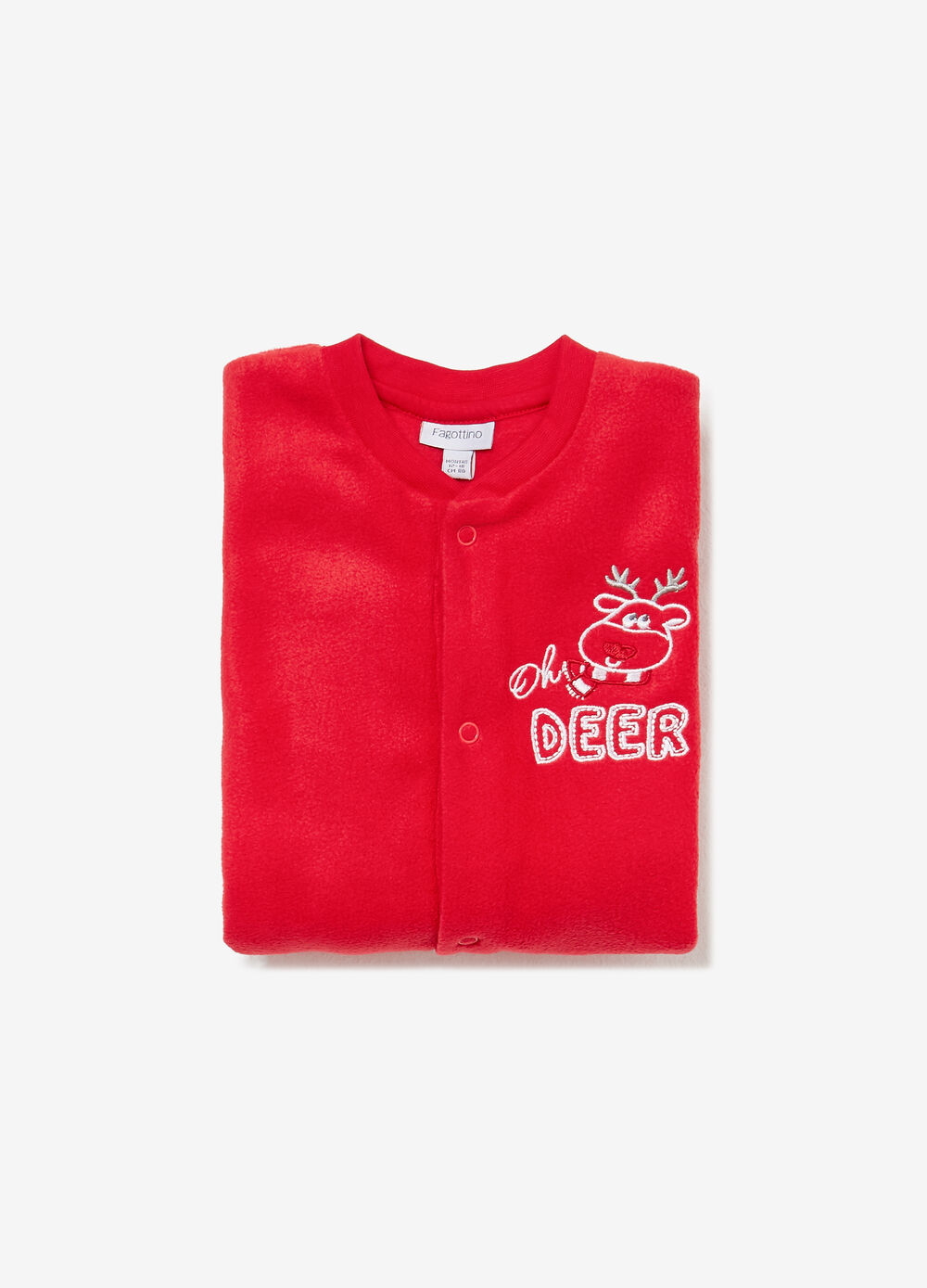 Solid colour onesie with reindeer embroidery