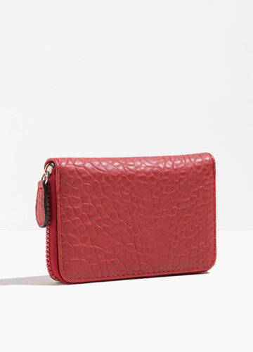 Solid colour textured-effect purse