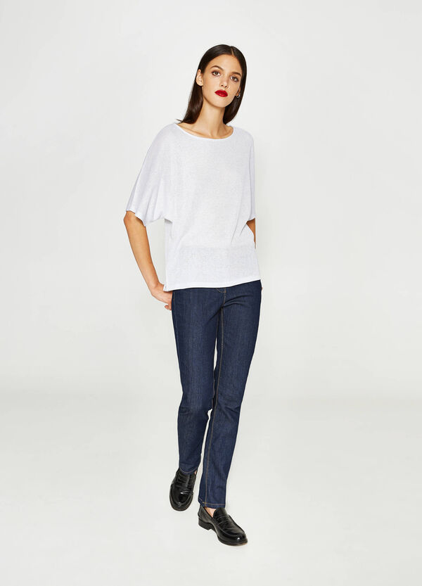 Ribbed viscose T-shirt with lurex