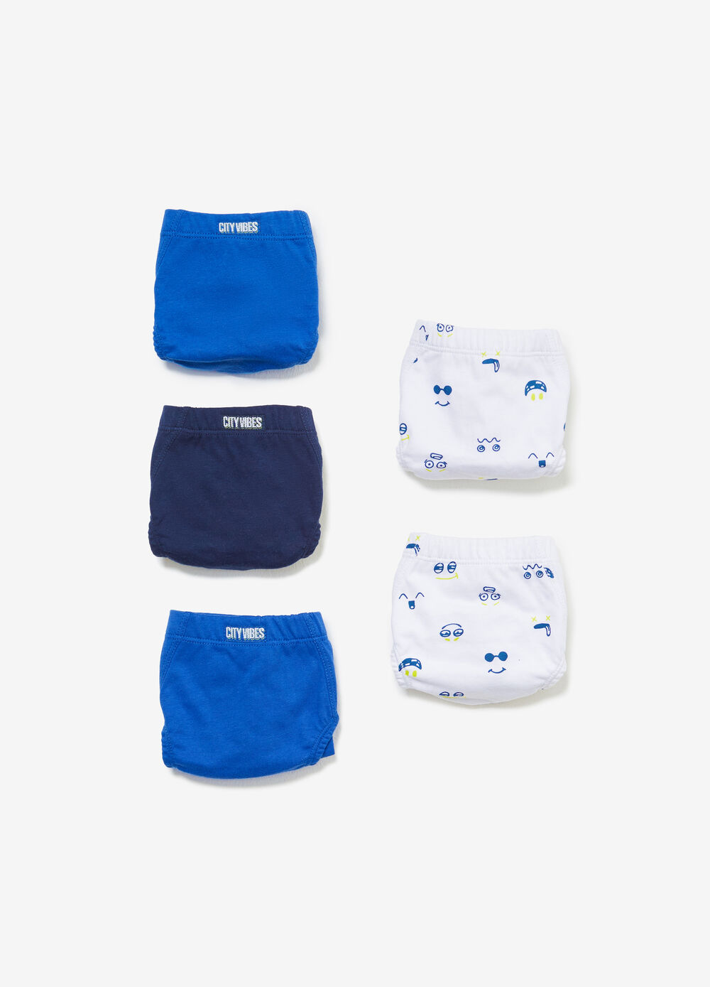 Five-pack solid colour and patterned cotton briefs