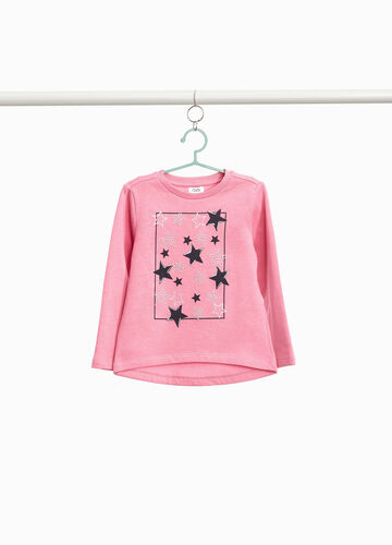 Sweatshirt with glitter star print