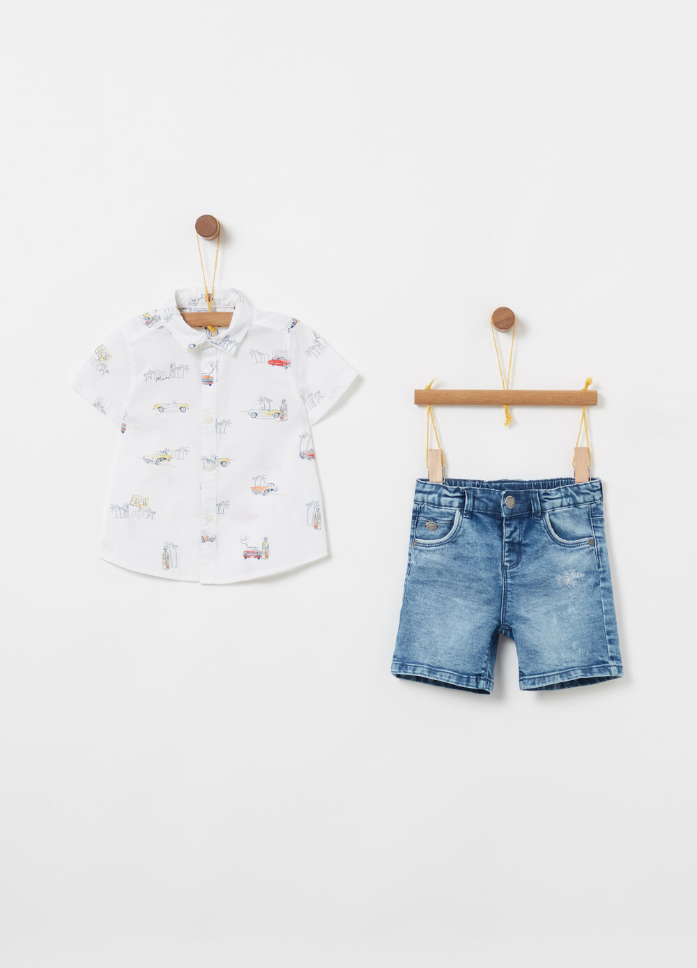 Set camicia in cotone e shorts in denim