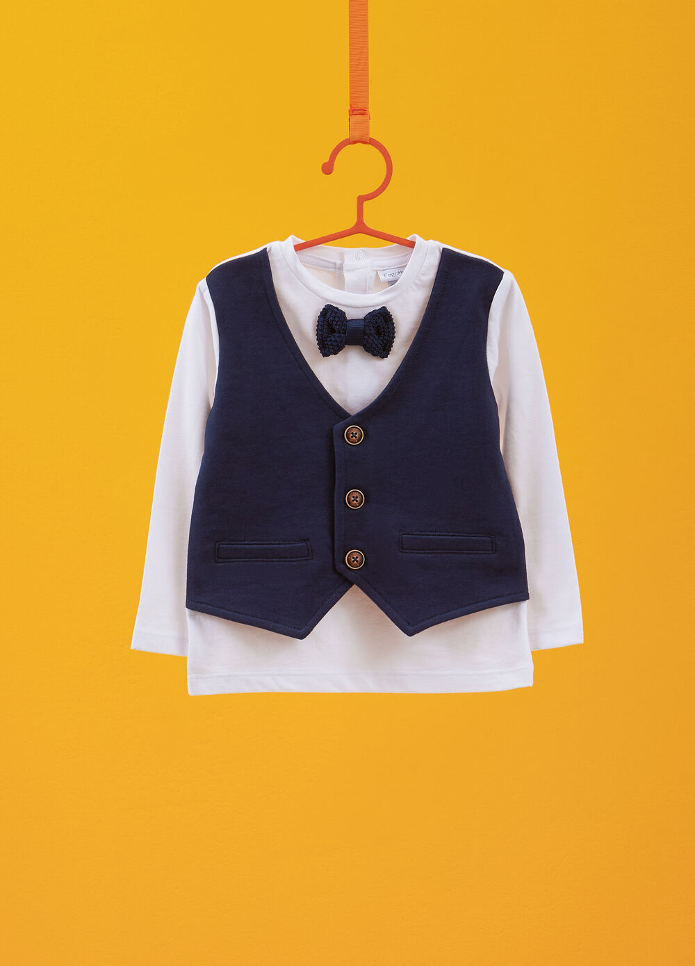 100% organic cotton T-shirt with waistcoat and bow tie