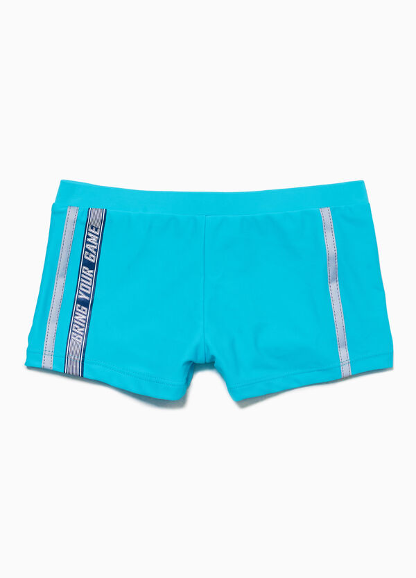 Swim boxer shorts with print and bands