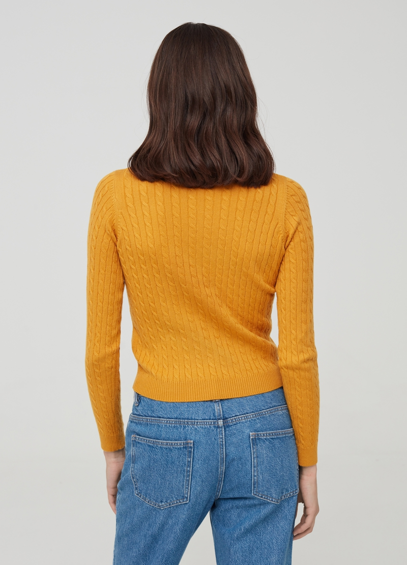Pullover with braided motif and round neck image number null