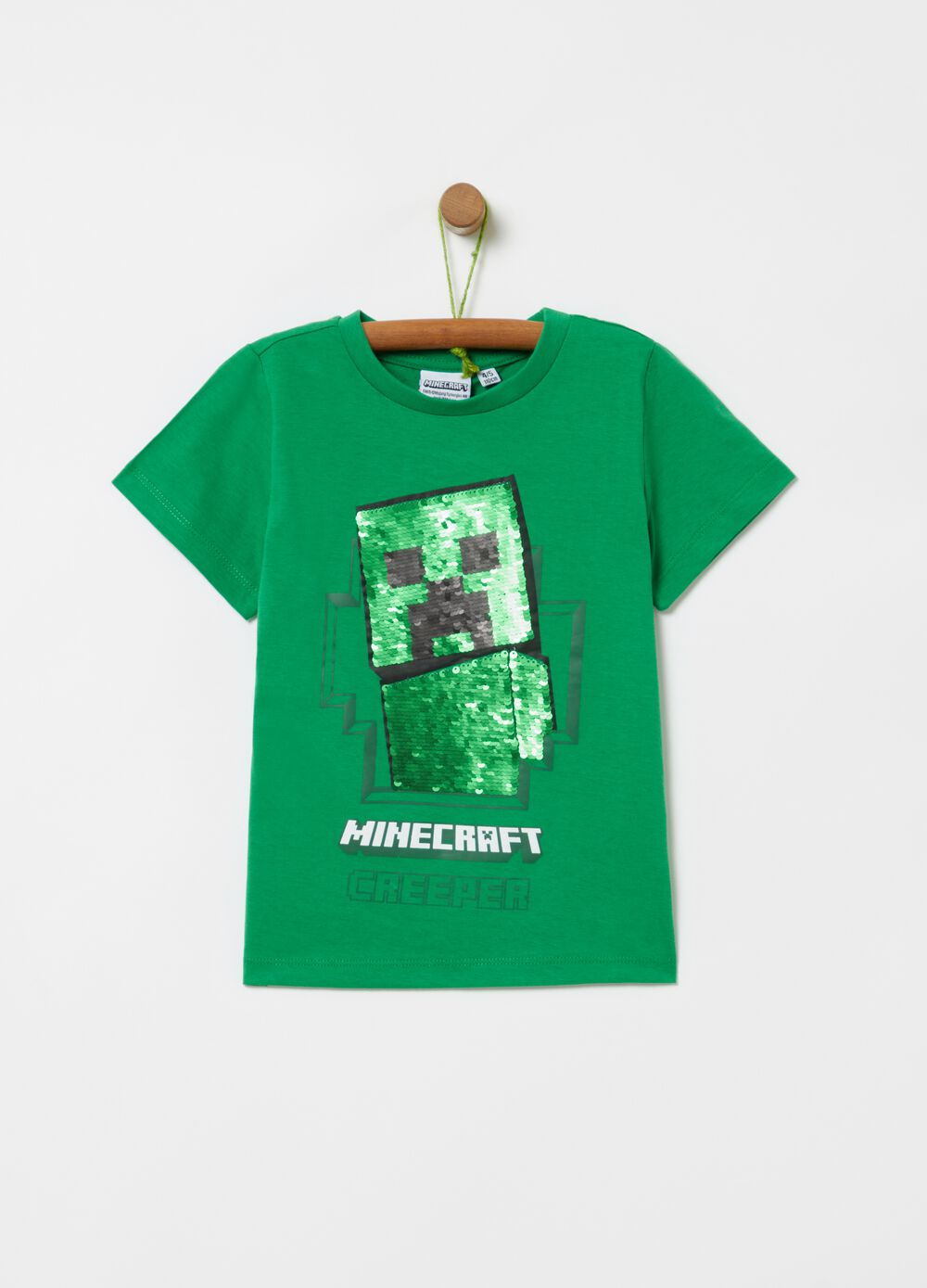 T-shirt with sequins and Minecraft print