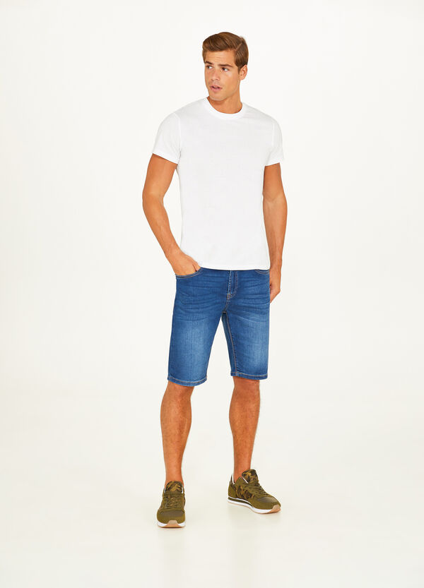 Used-effect stretch denim Bermuda shorts