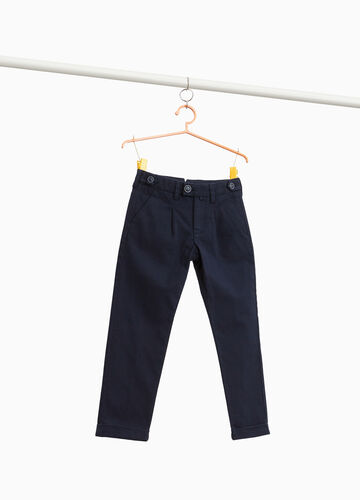 Cotton chino trousers with striped weave
