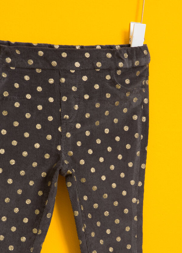 Pantaloni in cotone stretch a pois | OVS