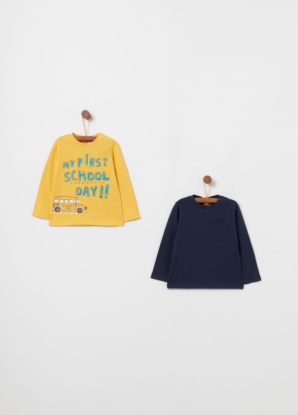 Two-pack 100% cotton T-shirts with print