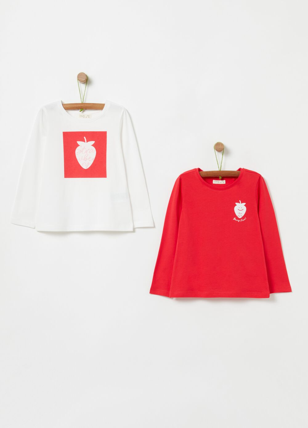Two-pack T-shirt with glitter print