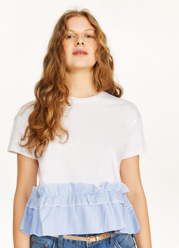 100% cotton T-shirt with striped ruffle