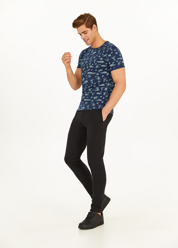 T-shirt in cotone stampa marina all-over