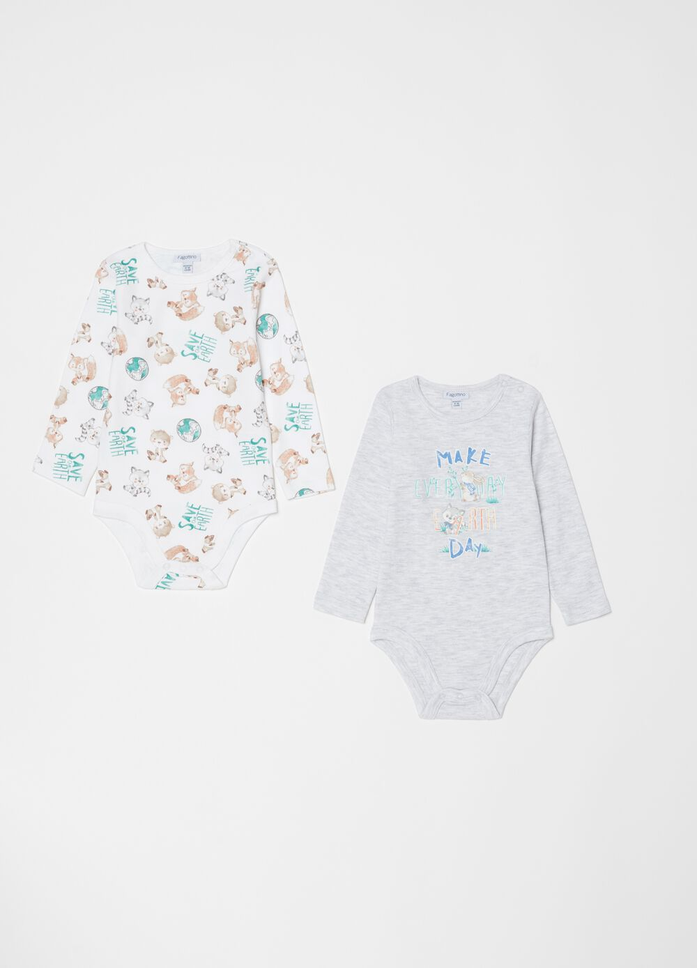 Two-pack bodysuits with long sleeves and pattern