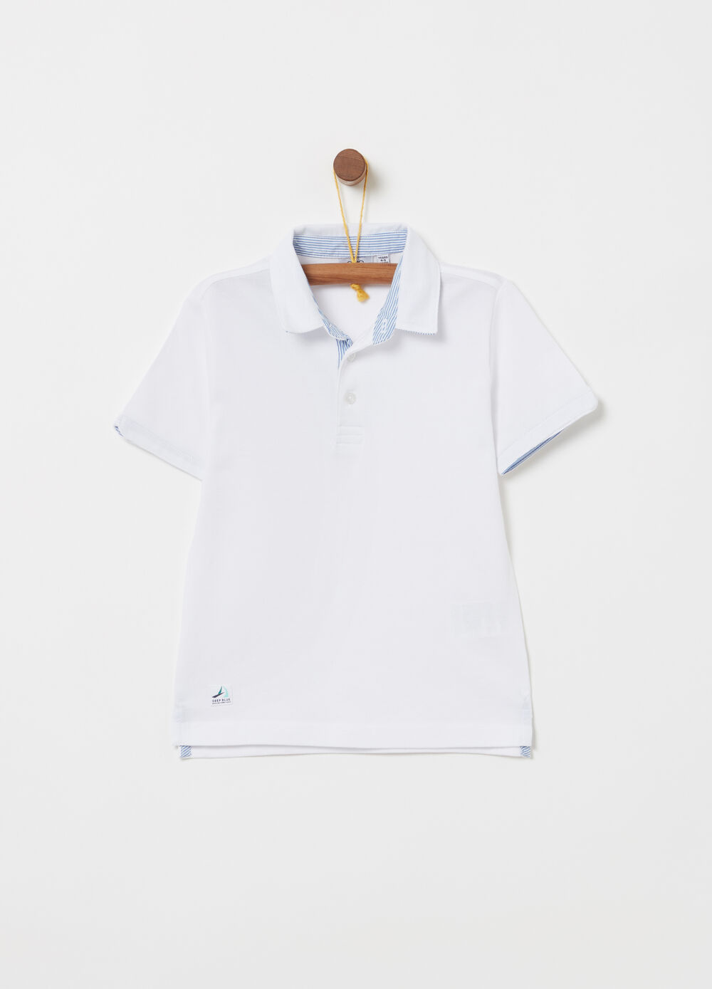 Yarn-dyed polo shirt in 100% cotton piquet with inserts