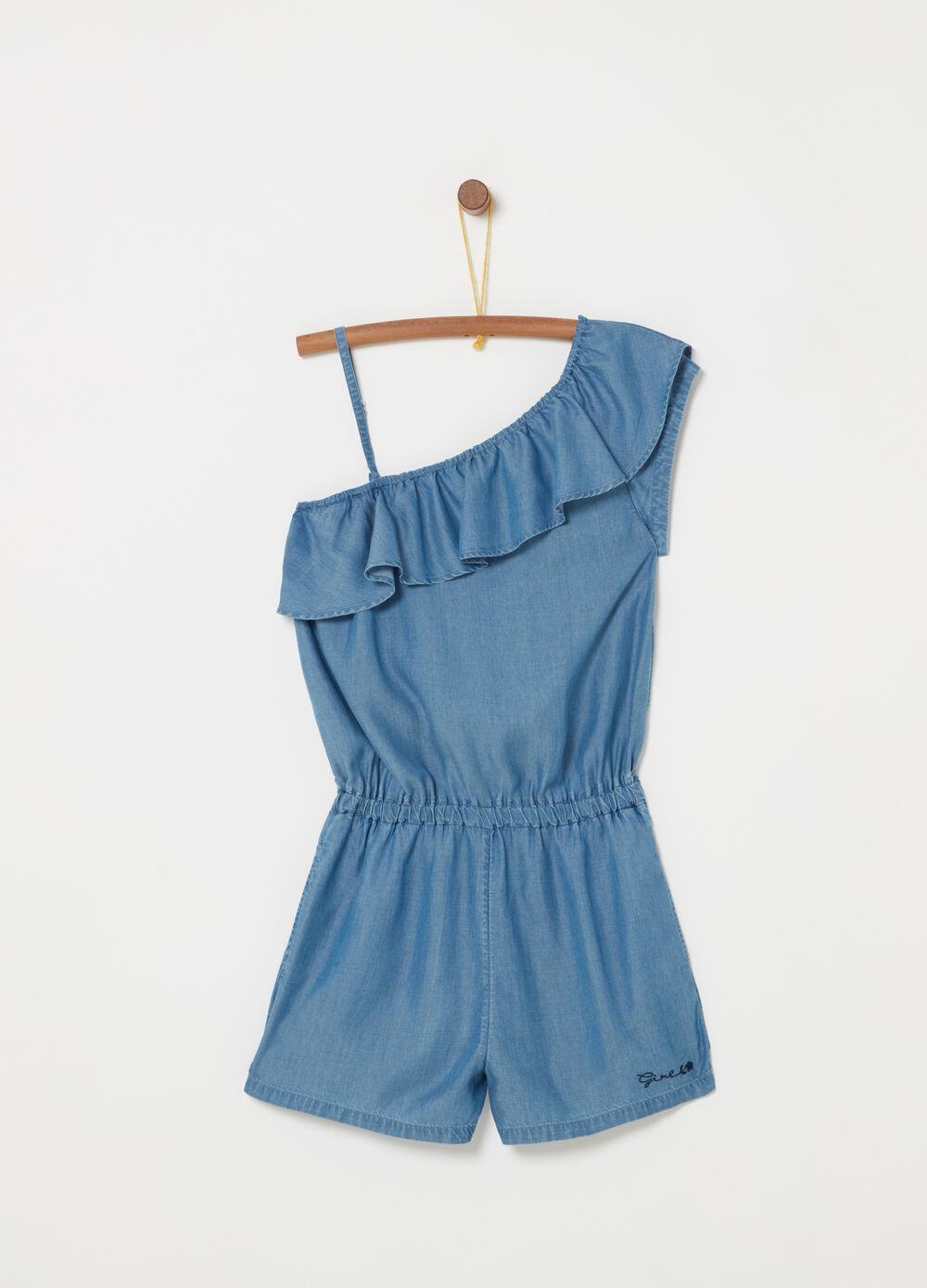 100% lyocell onesie with frills and embroider