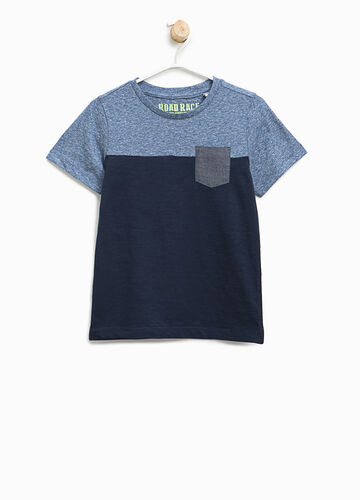 T-shirt bicolore in cotone stretch