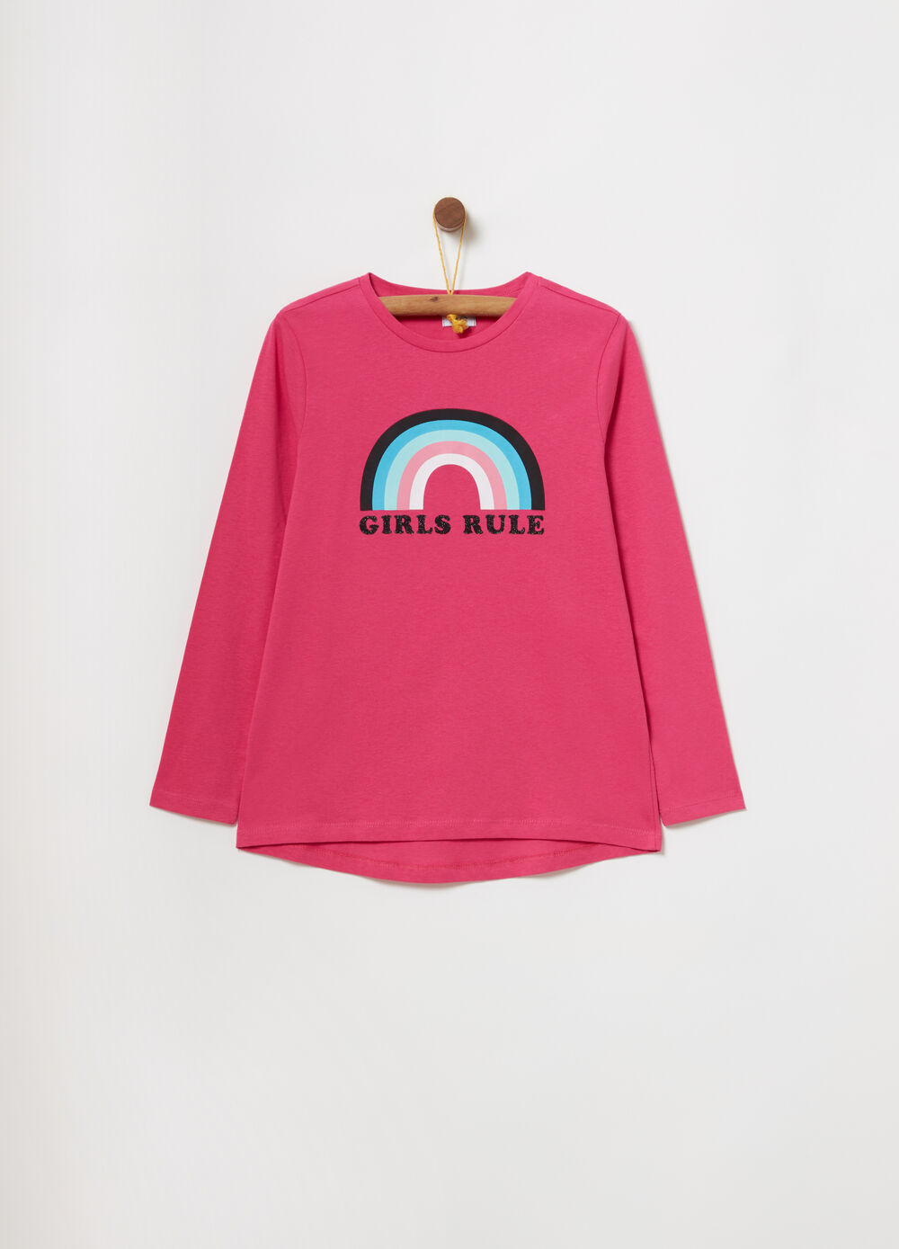 T-shirt with rainbow and lettering print