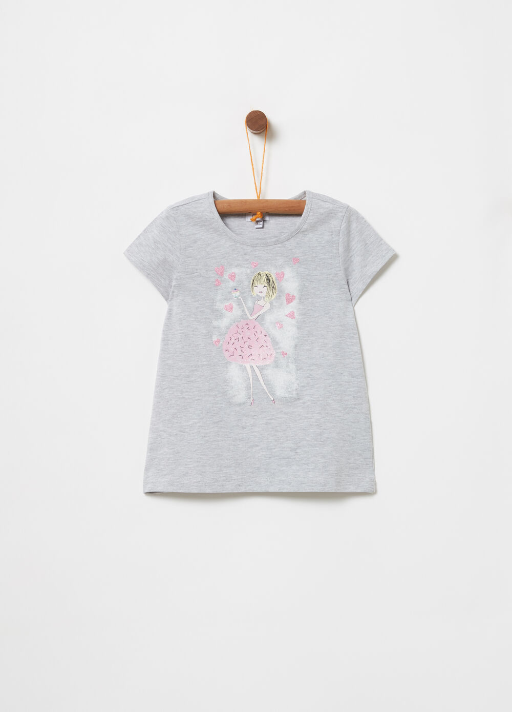 Mélange T-shirt with glitter print