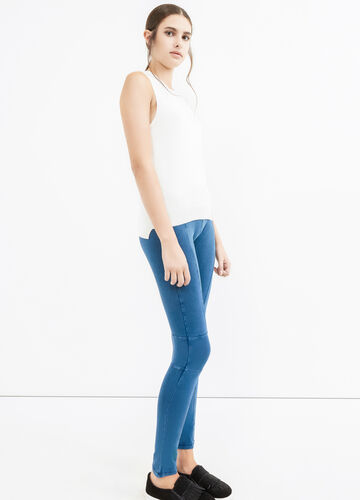 Solid colour stretch cotton leggings