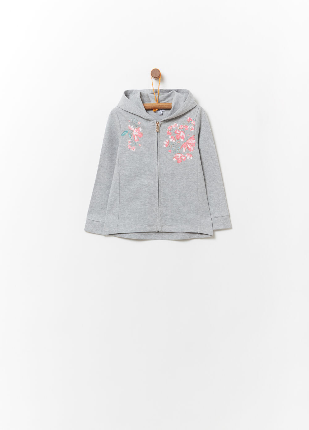 Lightweight cotton mélange sweatshirt with zip