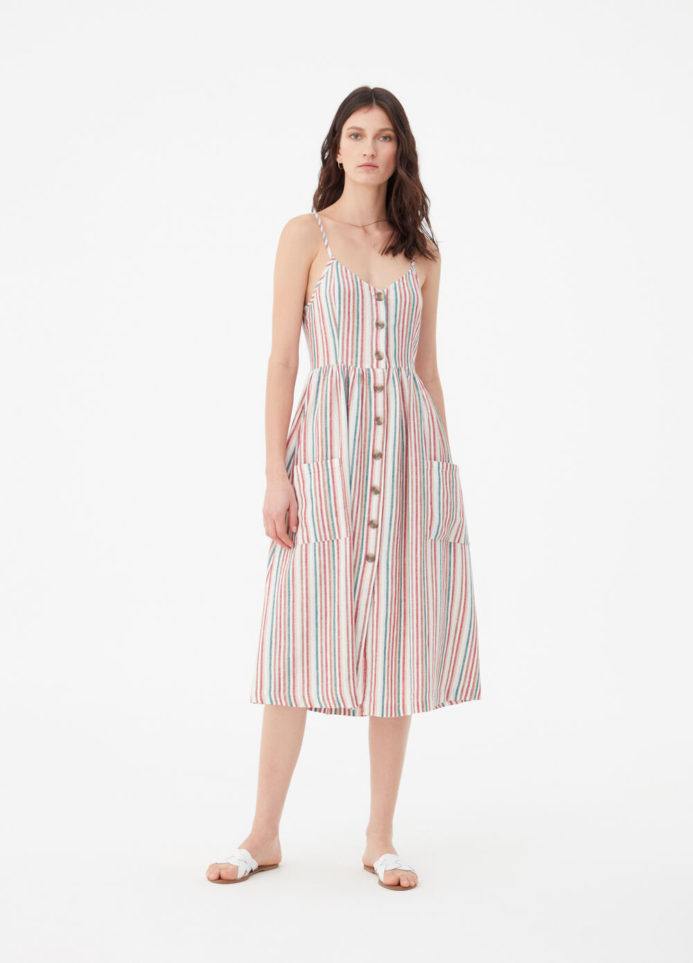 Long dress with spaghetti straps and striped pockets