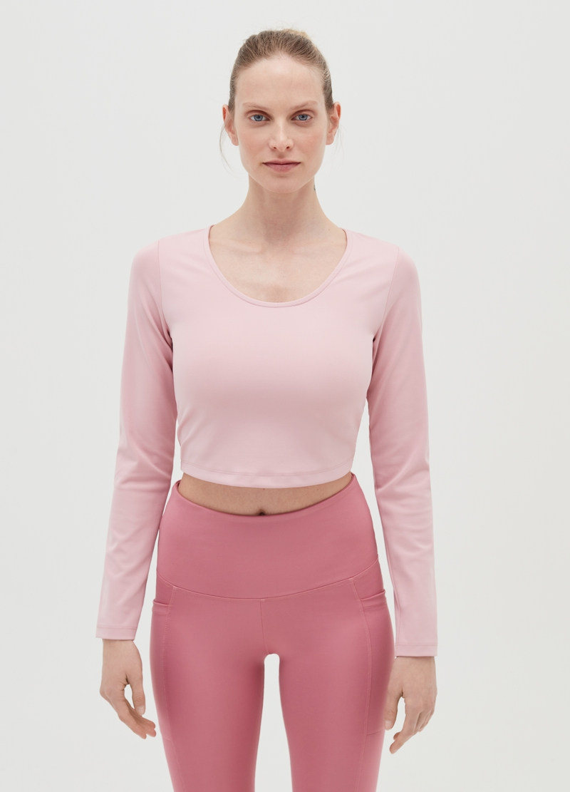 Crop T-shirt in microfibre image number null