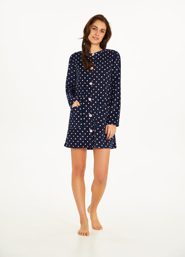 Fleece dressing gown with polka dot pattern
