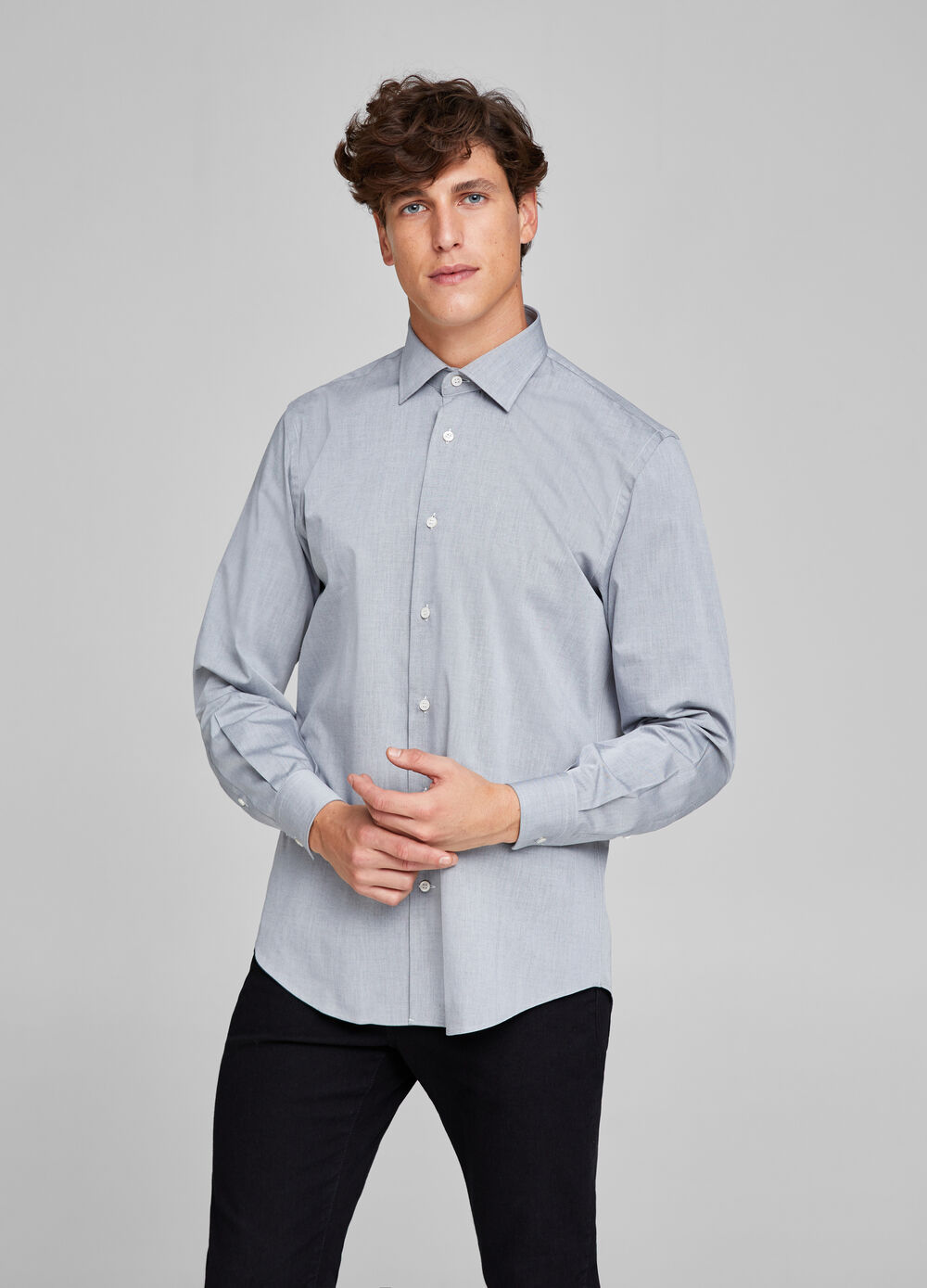 Regular-fit formal cotton shirt
