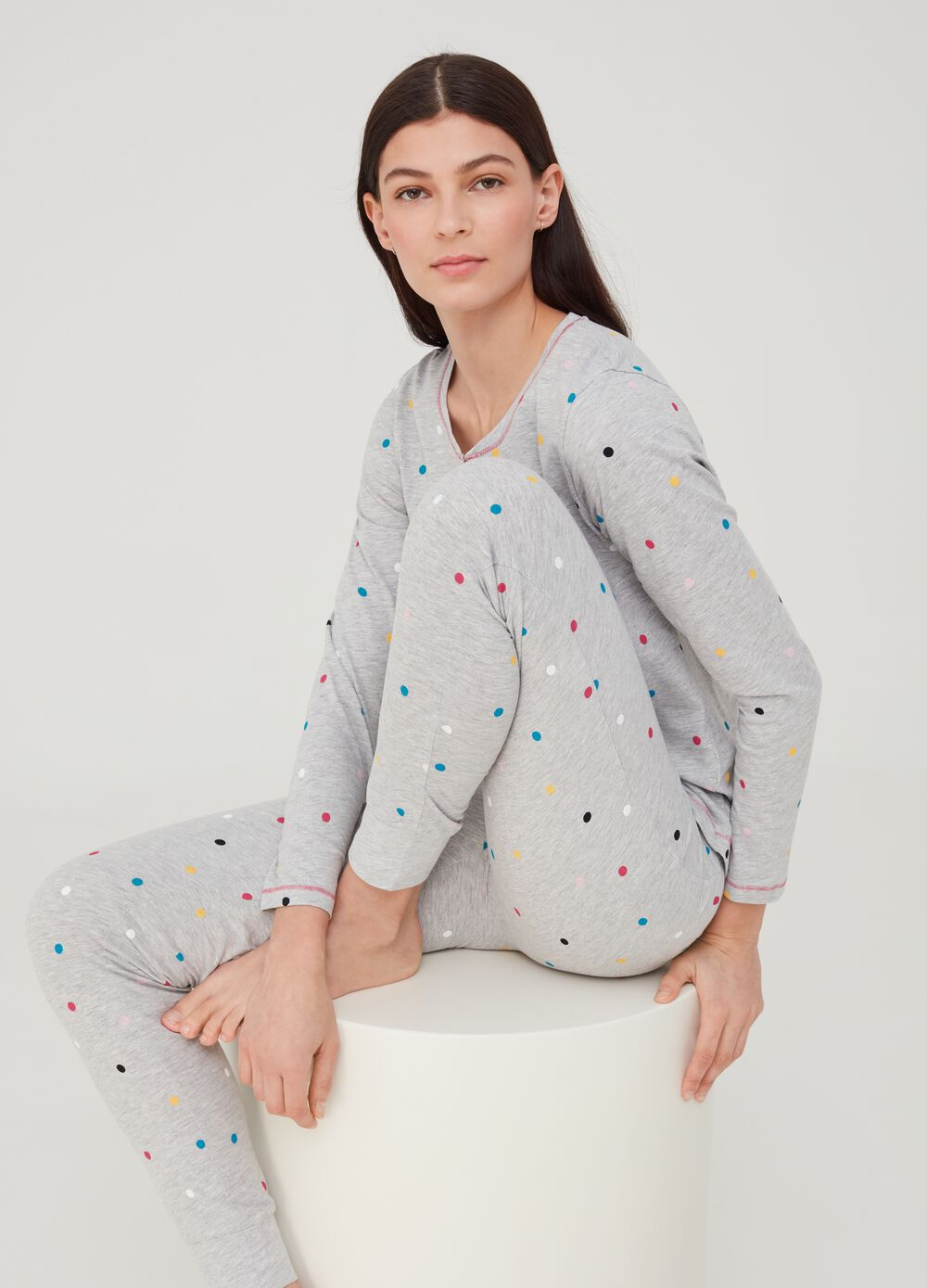 Pyjama top in organic cotton and viscose